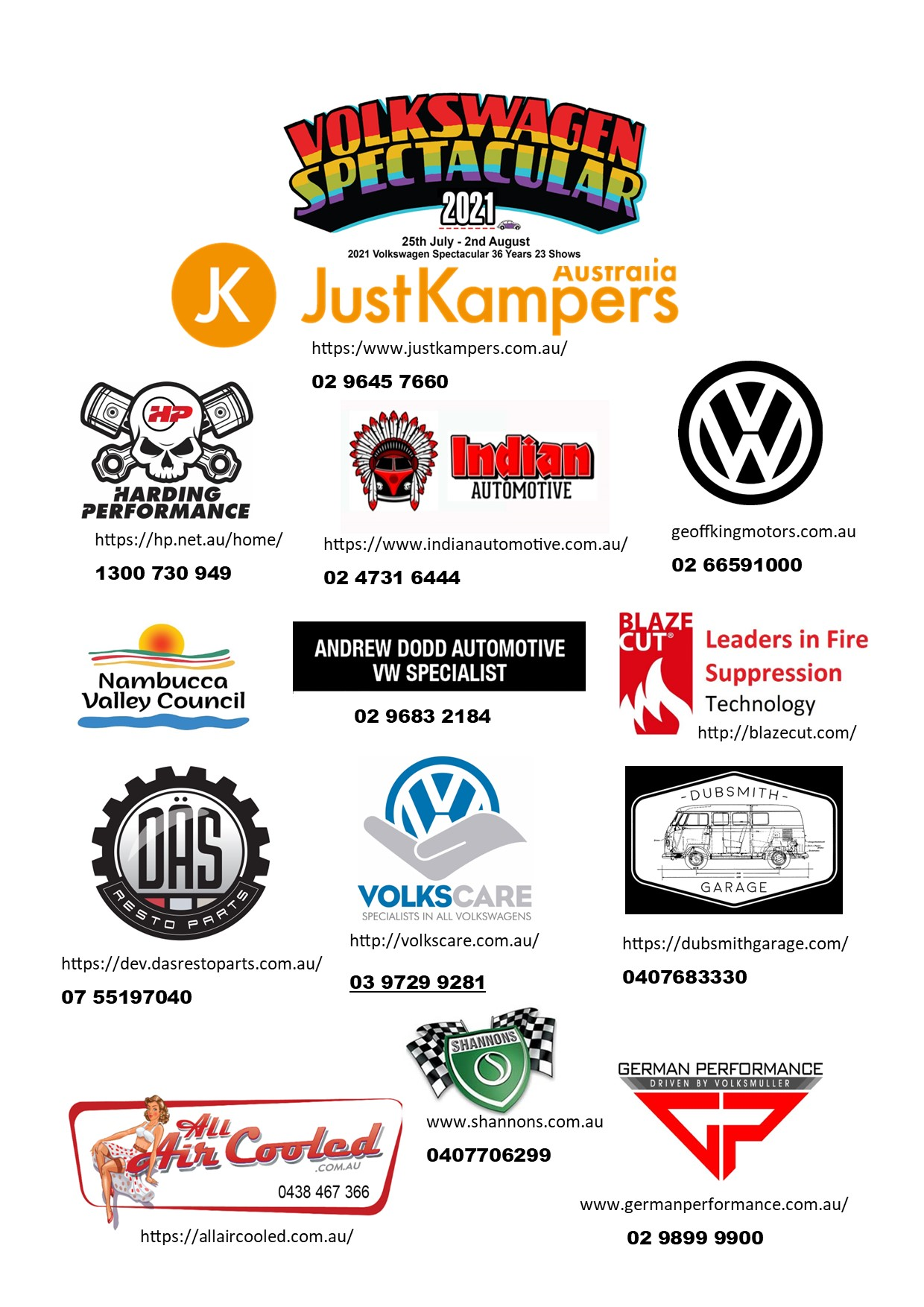 VW Spectacular Sponsor List